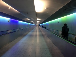 On Frankfurt airport walking to gate from arrival gate to departure gate.