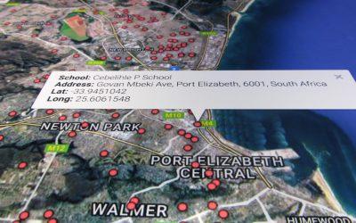 Plotting schools Port Elizabeth using shell scripting