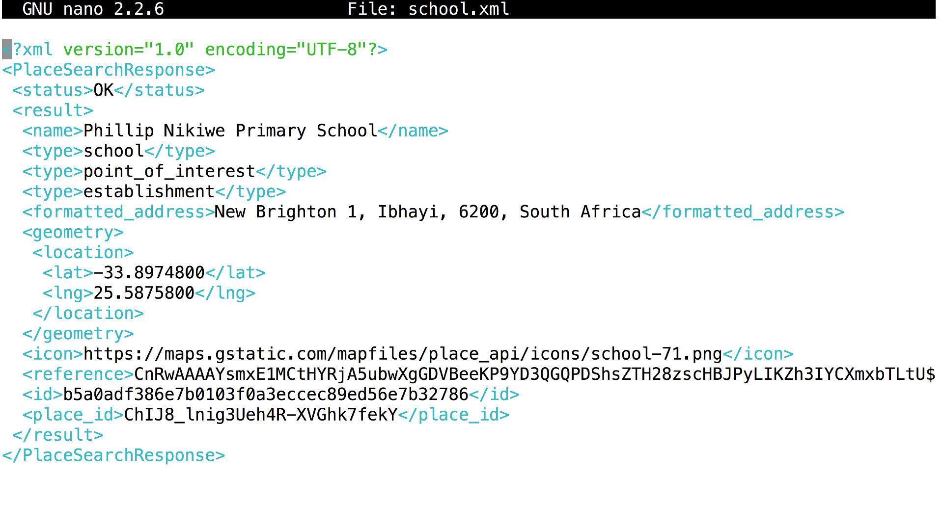XML example Google Maps API output
